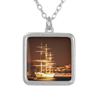 Ship at night in Stockholm, Sweden Silver Plated Necklace