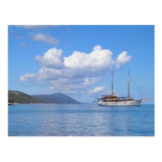 Ship at the Coast of Hvar, Croatia Post Card