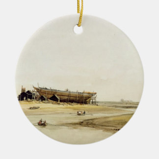 Ship Building (w/c on paper) Christmas Ornament