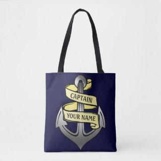 Ship Captain Anchor Sailor Nautical | Custom Name Tote Bag