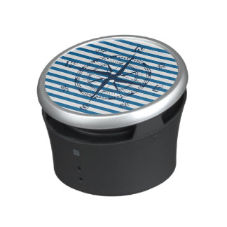 Ship Compass Blue and White Horizontal Stripe Speaker