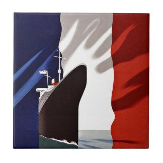 Ship French Line Vintage Travel Tile