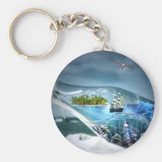 Ship in a Bottle Basic Round Button Key Ring