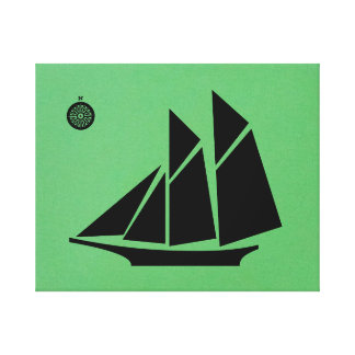 Ship in Black Gallery Wrapped Canvas