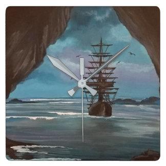 Ship In Cove Square Wall Clock