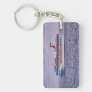 Ship in Purple Double-Sided Rectangular Acrylic Key Ring