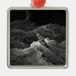 Ship in stormy sea christmas ornament