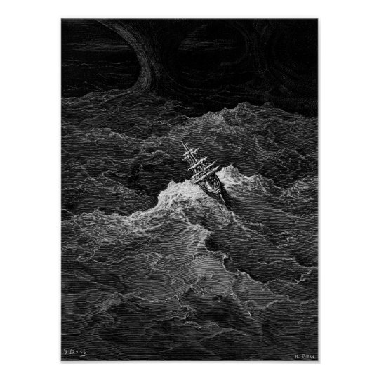 Ship in stormy sea poster