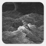 Ship in stormy sea square sticker