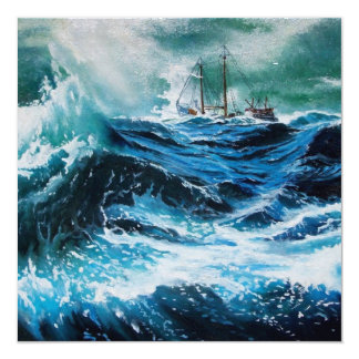 Ship In the Sea in Storm Invite