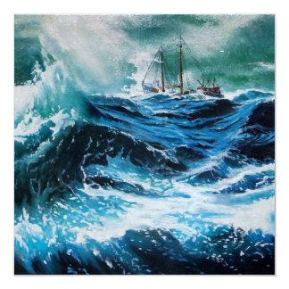 Ship In the Sea in Storm Invites