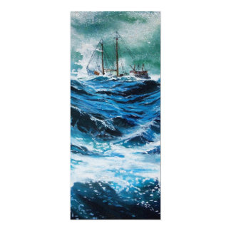 Ship In the Sea in Storm Personalized Invites