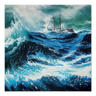 Ship In the Sea in Storm Custom Invitation