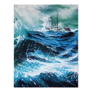 Ship In the Sea in Storm ,Parchment Custom Invitation