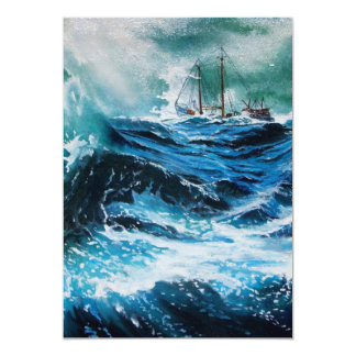 Ship In the Sea in Storm ,Parchment Cards