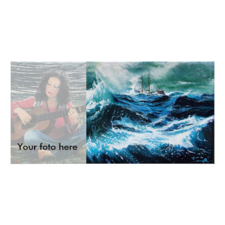 Ship In the Sea in Storm Photo Greeting Card