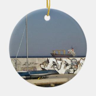 Ship Leaving Varna Round Ceramic Decoration