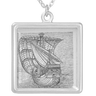 Ship of Columbus' Time' Silver Plated Necklace