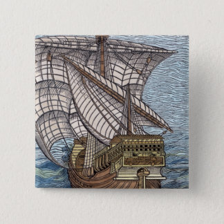 Ship of Columbus'Time' 15 Cm Square Badge