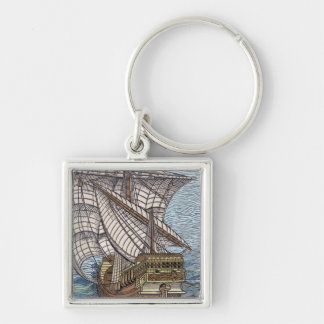 Ship of Columbus'Time' Key Ring