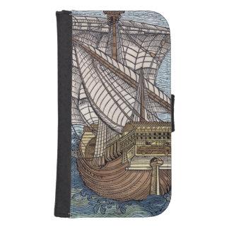 Ship of Columbus'Time' Samsung S4 Wallet Case