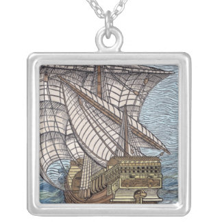 Ship of Columbus'Time' Silver Plated Necklace