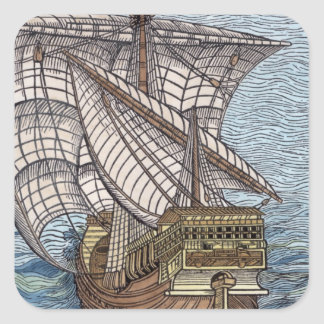 Ship of Columbus'Time' Square Sticker
