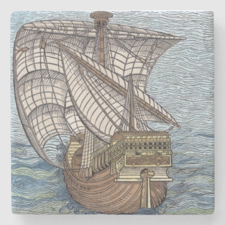 Ship of Columbus'Time' Stone Coaster