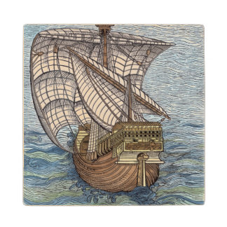 Ship of Columbus'Time' Wood Coaster