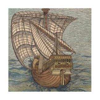 Ship of Columbus'Time' Wood Print