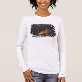 Ship on Fire at Night, c.1756 (oil on canvas) Long Sleeve T-Shirt