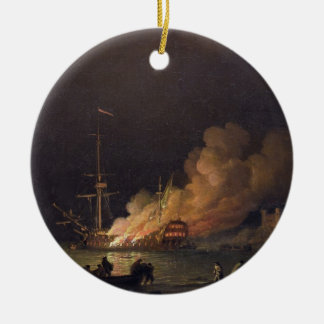 Ship on Fire at Night, c.1756 (oil on canvas) Round Ceramic Decoration