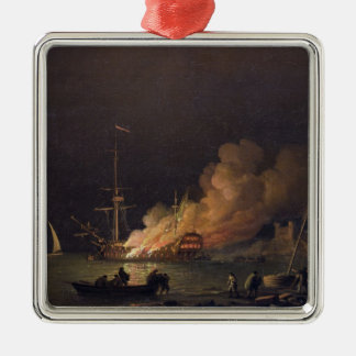 Ship on Fire at Night, c.1756 (oil on canvas) Silver-Colored Square Decoration