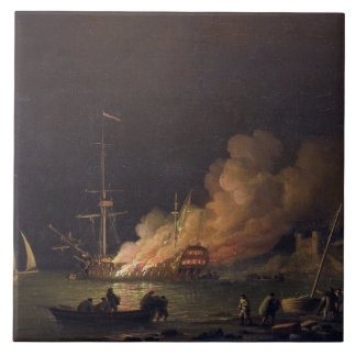 Ship on Fire at Night, c.1756 (oil on canvas) Tile