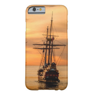 Ship on Sea at Sunset Cell Phone Case