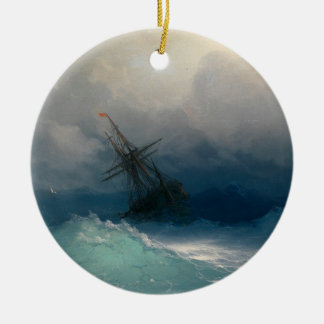 Ship on Stormy Seas Christmas Ornament