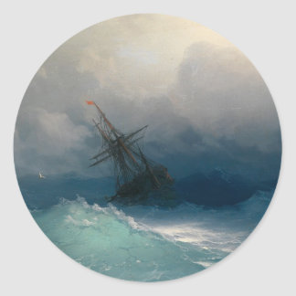 Ship on Stormy Seas Classic Round Sticker