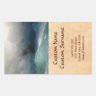 Ship on Stormy Seas Ivan Aivazovsky seascape storm Rectangular Sticker