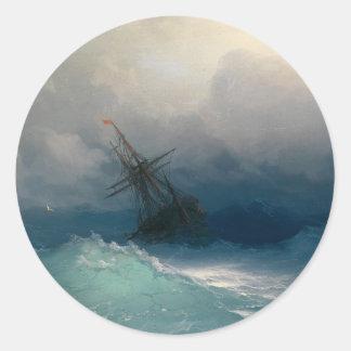 Ship on Stormy Seas Round Sticker