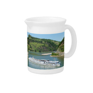Ship on the Rhine with Oberwesel Pitcher