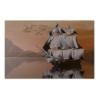 ship on the sea poster