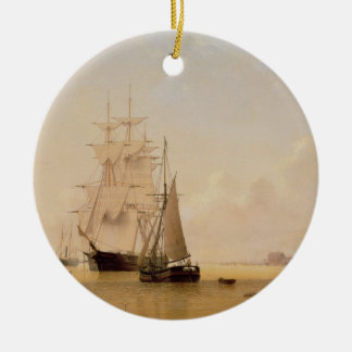 Ship Painting (oil on canvas) 2 Round Ceramic Decoration
