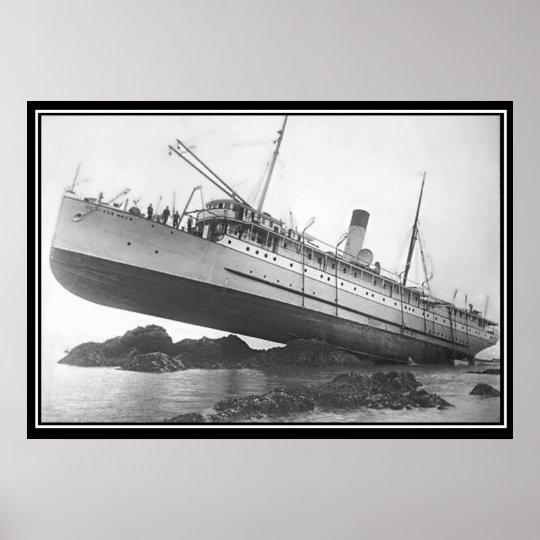 Ship Run Aground Vintage Photo Poster
