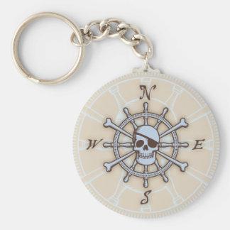 Ship s Wheel Compass Rose Key Chain