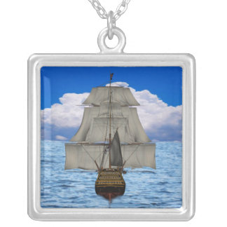 Ship sailing silver plated necklace