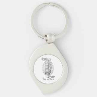 Ship Sailors Tattoo Silver-Colored Swirl Key Ring