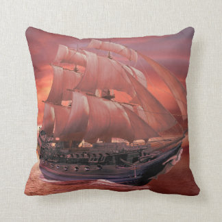SHIP SAILS AT SUNSET CUSHION