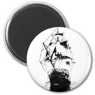 Ship Silhouette 6 Cm Round Magnet