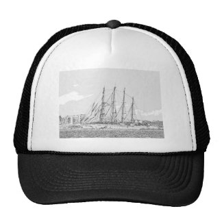 Ship under sail drawing cap