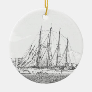 Ship under sail drawing christmas ornament